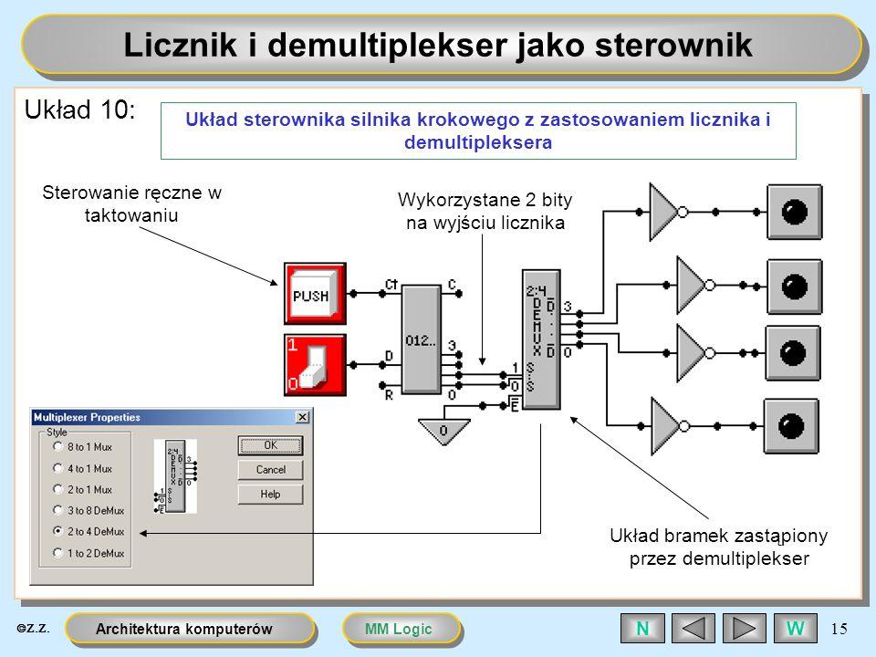 MM LogicArchitektura komputerów 15 WN Licznik i demultiplekser jako sterownik Układ 10: Układ sterownika silnika krokowego z zastosowaniem licznika i
