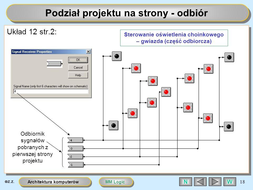MM LogicArchitektura komputerów 18 WN Podział projektu na strony - odbiór Układ 12 str.2: Odbiornik sygnałów pobranych z pierwszej strony projektu Ste