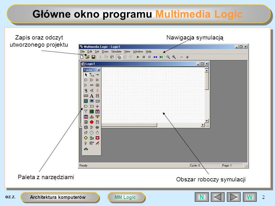 MM LogicArchitektura komputerów 3 WN Paleta z elementami Zestaw: Połączenia Bramki Dioda LED Wyświetlacz 7-segmentowy Włącznik Klawiatura i Keypad Nadajnik i odbiornik sygnału (stronicowanie projektu) Generator sygnału cyfrowego Uziemienie (logiczne 0) Przerzutnik Wejścia oraz wyjścia Zegary Licznik Pamięć Ustawienie (logiczne 1)