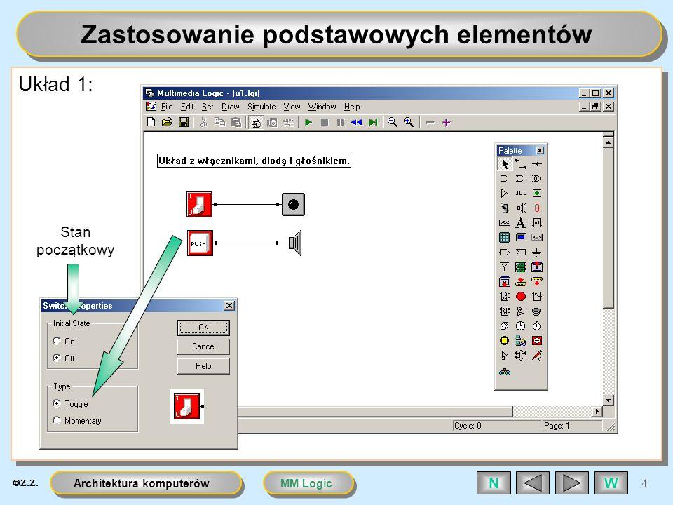 MM LogicArchitektura komputerów 15 WN Licznik i demultiplekser jako sterownik Układ 10: Układ sterownika silnika krokowego z zastosowaniem licznika i demultipleksera Sterowanie ręczne w taktowaniu Wykorzystane 2 bity na wyjściu licznika Układ bramek zastąpiony przez demultiplekser