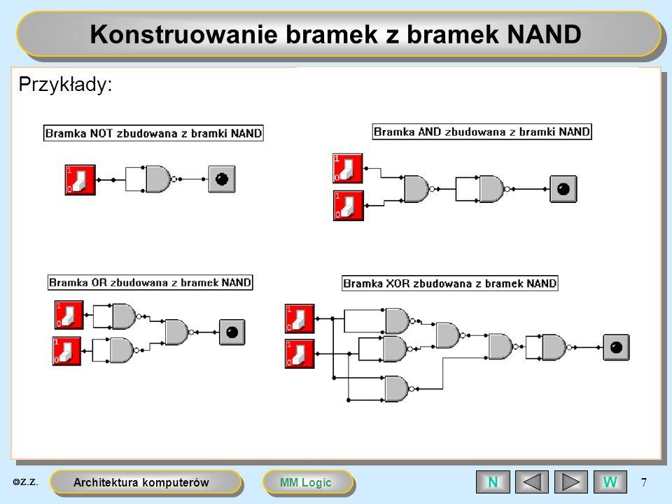 MM LogicArchitektura komputerów 7 WN Konstruowanie bramek z bramek NAND Przykłady: