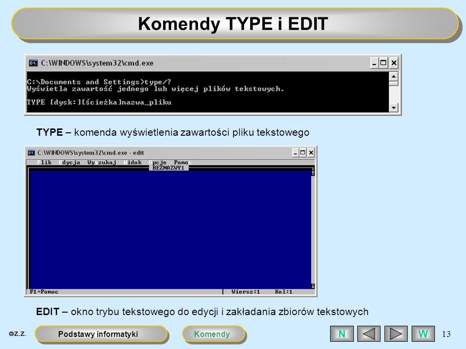 KomendyPodstawy informatyki 13 WN Komendy TYPE i EDIT TYPE – komenda wyświetlenia zawartości pliku tekstowego EDIT – okno trybu tekstowego do edycji i