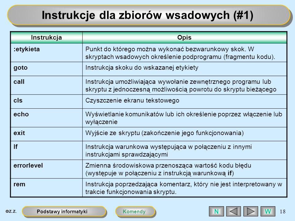 KomendyPodstawy informatyki 18 WN Instrukcje dla zbiorów wsadowych (#1) InstrukcjaOpis :etykietaPunkt do którego można wykonać bezwarunkowy skok. W sk
