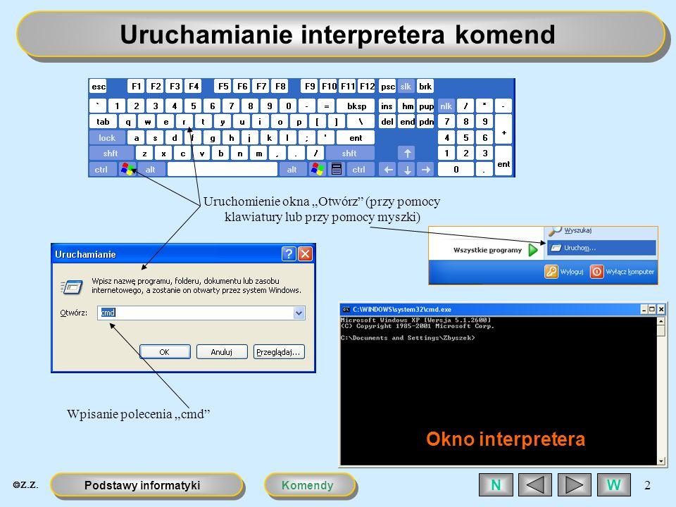 KomendyPodstawy informatyki 2 WN Uruchamianie interpretera komend Uruchomienie okna Otwórz (przy pomocy klawiatury lub przy pomocy myszki) Wpisanie po