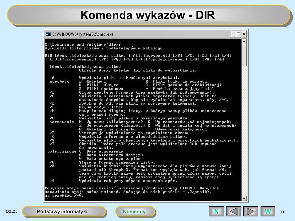 KomendyPodstawy informatyki 6 WN Komenda wykazów - DIR