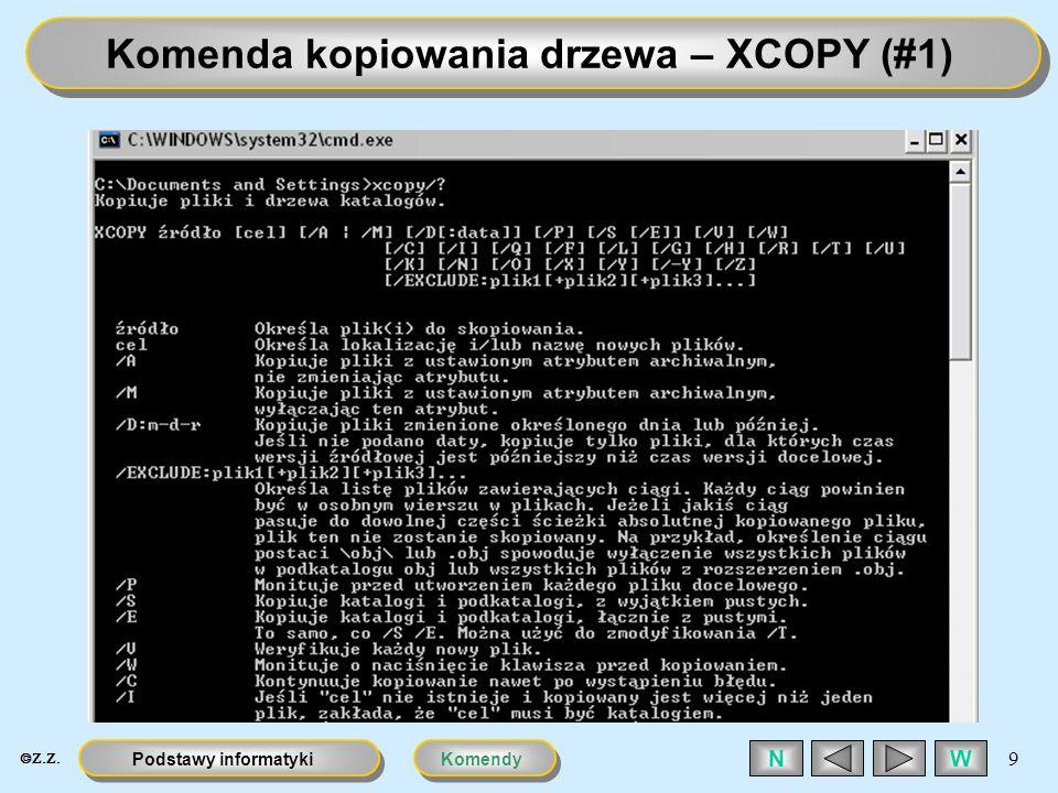 KomendyPodstawy informatyki 10 WN Komenda kopiowania drzewa – XCOPY (#2)