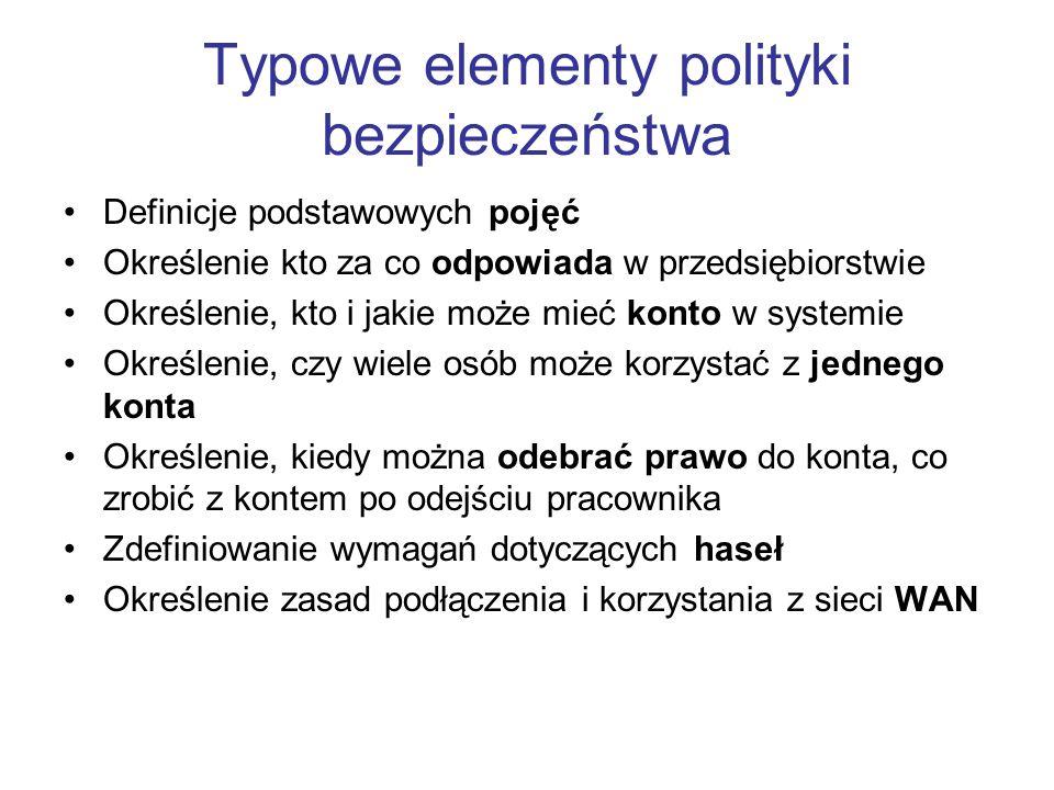 Typowe elementy polityki bezpieczeństwa Definicje podstawowych pojęć Określenie kto za co odpowiada w przedsiębiorstwie Określenie, kto i jakie może m
