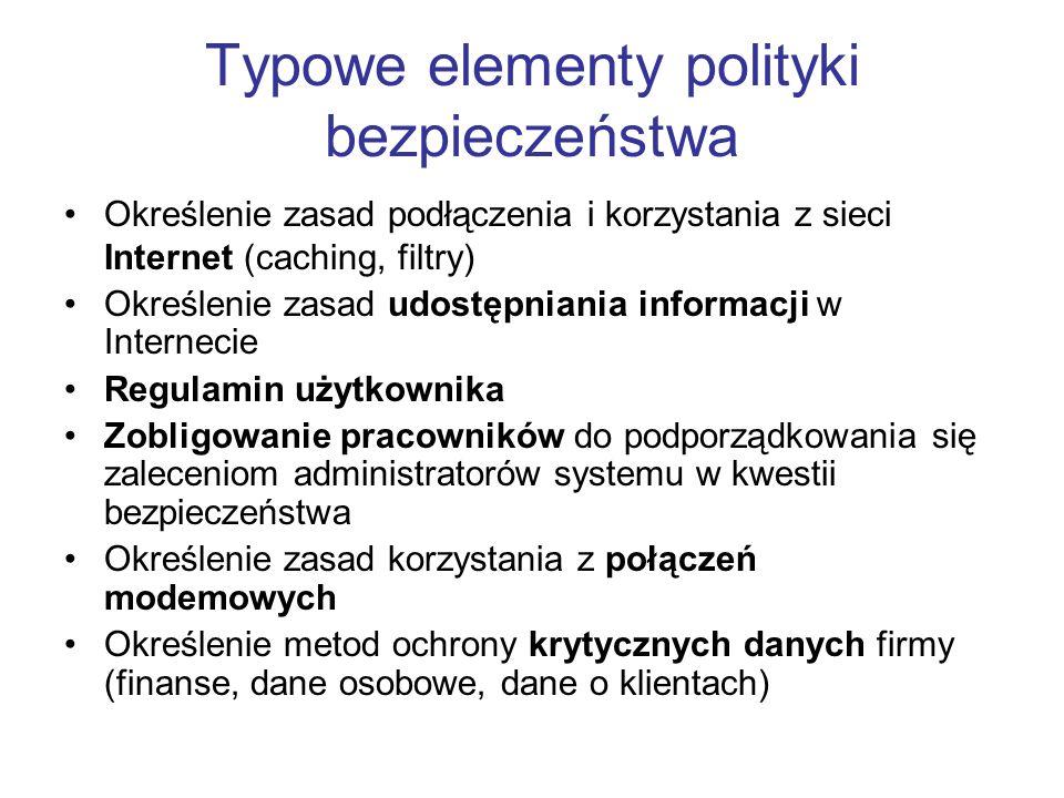 Typowe elementy polityki bezpieczeństwa Określenie zasad podłączenia i korzystania z sieci Internet (caching, filtry) Określenie zasad udostępniania i
