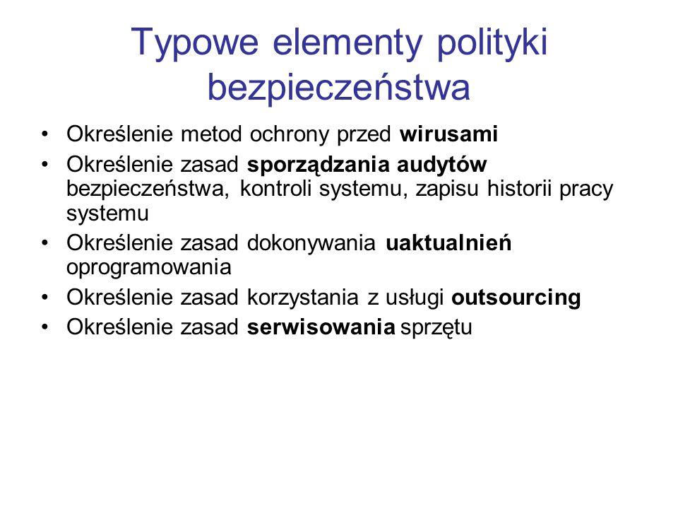 Typowe elementy polityki bezpieczeństwa Określenie metod ochrony przed wirusami Określenie zasad sporządzania audytów bezpieczeństwa, kontroli systemu