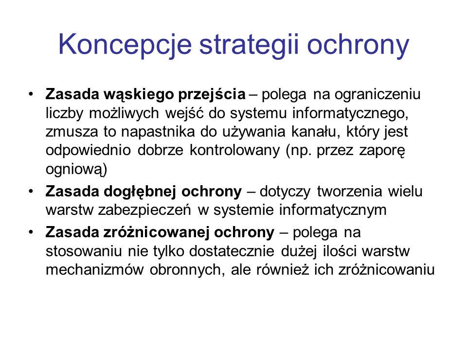 Koncepcje strategii ochrony Zasada wąskiego przejścia – polega na ograniczeniu liczby możliwych wejść do systemu informatycznego, zmusza to napastnika