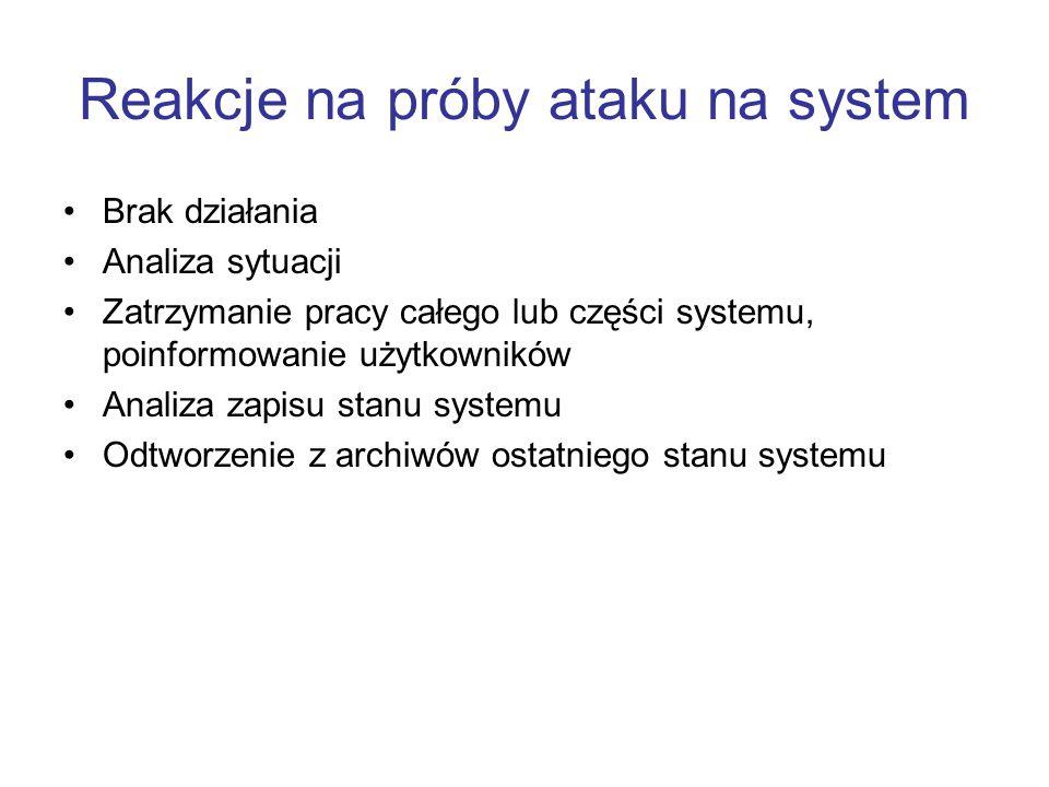 Reakcje na próby ataku na system Brak działania Analiza sytuacji Zatrzymanie pracy całego lub części systemu, poinformowanie użytkowników Analiza zapi