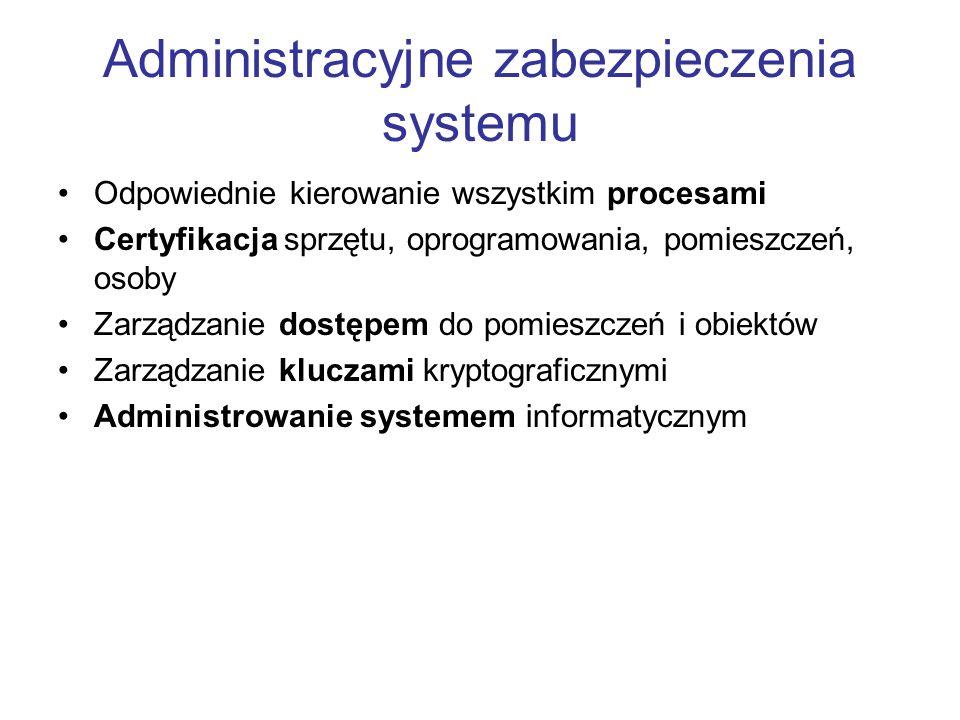 Administracyjne zabezpieczenia systemu Odpowiednie kierowanie wszystkim procesami Certyfikacja sprzętu, oprogramowania, pomieszczeń, osoby Zarządzanie