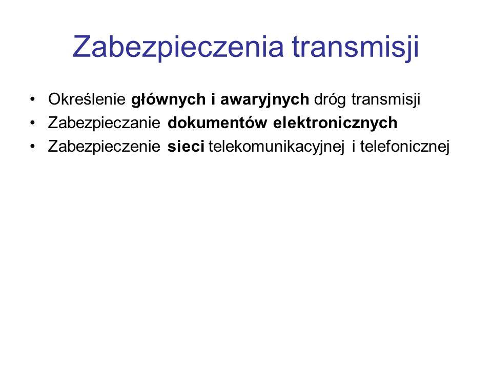 Zabezpieczenia transmisji Określenie głównych i awaryjnych dróg transmisji Zabezpieczanie dokumentów elektronicznych Zabezpieczenie sieci telekomunika