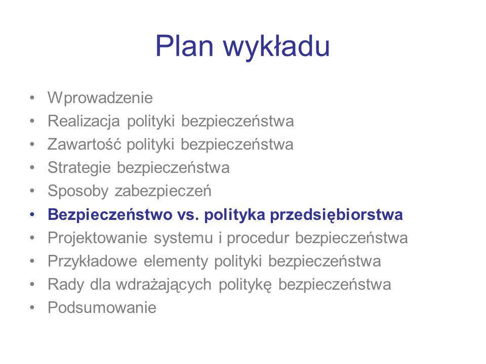 Plan wykładu Wprowadzenie Realizacja polityki bezpieczeństwa Zawartość polityki bezpieczeństwa Strategie bezpieczeństwa Sposoby zabezpieczeń Bezpiecze