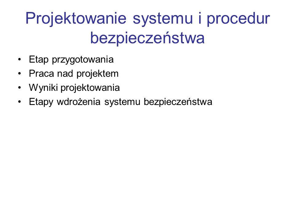 Projektowanie systemu i procedur bezpieczeństwa Etap przygotowania Praca nad projektem Wyniki projektowania Etapy wdrożenia systemu bezpieczeństwa