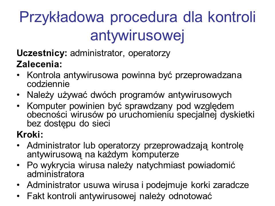 Przykładowa procedura dla kontroli antywirusowej Uczestnicy: administrator, operatorzy Zalecenia: Kontrola antywirusowa powinna być przeprowadzana cod