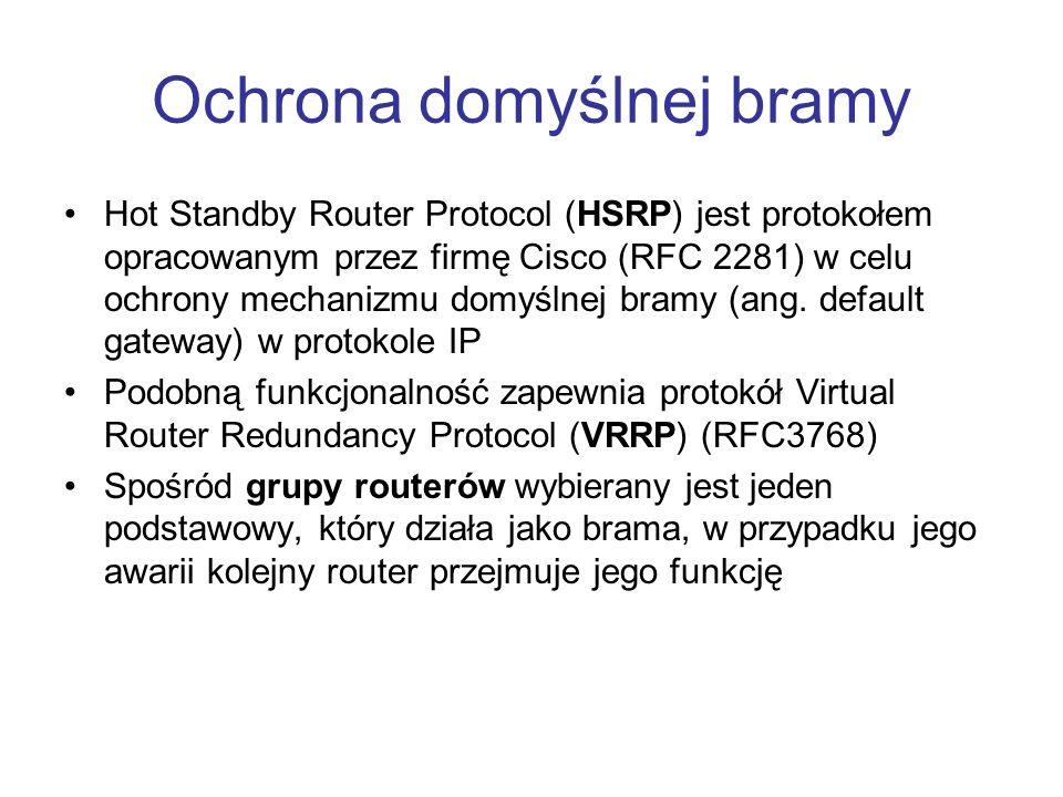 Ochrona domyślnej bramy Hot Standby Router Protocol (HSRP) jest protokołem opracowanym przez firmę Cisco (RFC 2281) w celu ochrony mechanizmu domyślne