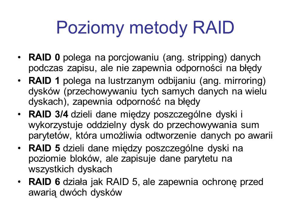 Poziomy metody RAID RAID 0 polega na porcjowaniu (ang. stripping) danych podczas zapisu, ale nie zapewnia odporności na błędy RAID 1 polega na lustrza