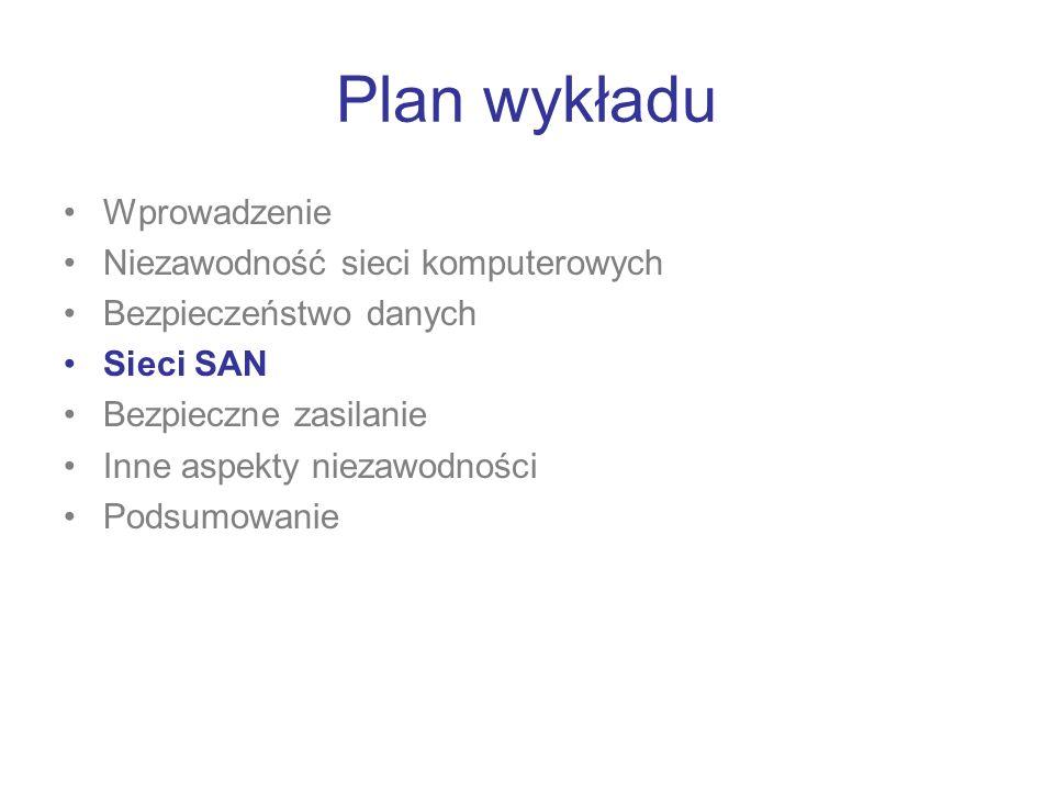 Plan wykładu Wprowadzenie Niezawodność sieci komputerowych Bezpieczeństwo danych Sieci SAN Bezpieczne zasilanie Inne aspekty niezawodności Podsumowani