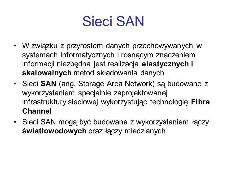 Czynniki wpływające na rozwój SAN Konsolidacja pamięci masowych i centralne zarządzanie Współdzielenie danych Bezpieczeństwo inwestycji Zdalna dystrybucja danych Wymagania wydajnościowe