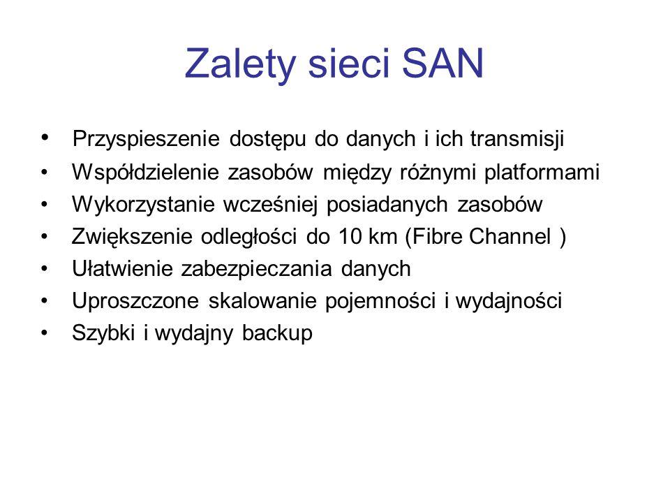 Zalety sieci SAN Przyspieszenie dostępu do danych i ich transmisji Współdzielenie zasobów między różnymi platformami Wykorzystanie wcześniej posiadany