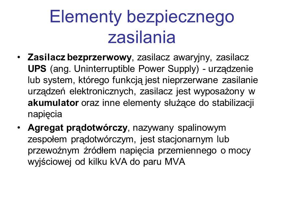 Elementy bezpiecznego zasilania Zasilacz bezprzerwowy, zasilacz awaryjny, zasilacz UPS (ang. Uninterruptible Power Supply) - urządzenie lub system, kt