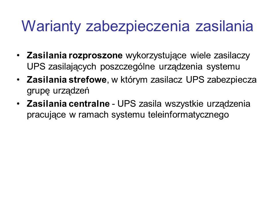 Kryteria wyboru zabezpieczenia zasilania Prawidłowy dobór mocy zasilacza UPS do zabezpieczanego urządzenia Wybór odpowiedniej topologii zasilacza Stopień wymaganej niezawodności - redundancja Czas autonomii Prawidłowe warunki instalacji, eksploatacji i konserwacji Możliwość rozbudowy Sposób zarządzania i monitorowania Czas i sposób usunięcia ewentualnych awarii Warunki współpracy z agregatem prądotwórczym