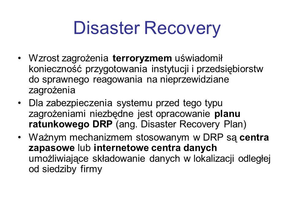 Disaster Recovery Wzrost zagrożenia terroryzmem uświadomił konieczność przygotowania instytucji i przedsiębiorstw do sprawnego reagowania na nieprzewi