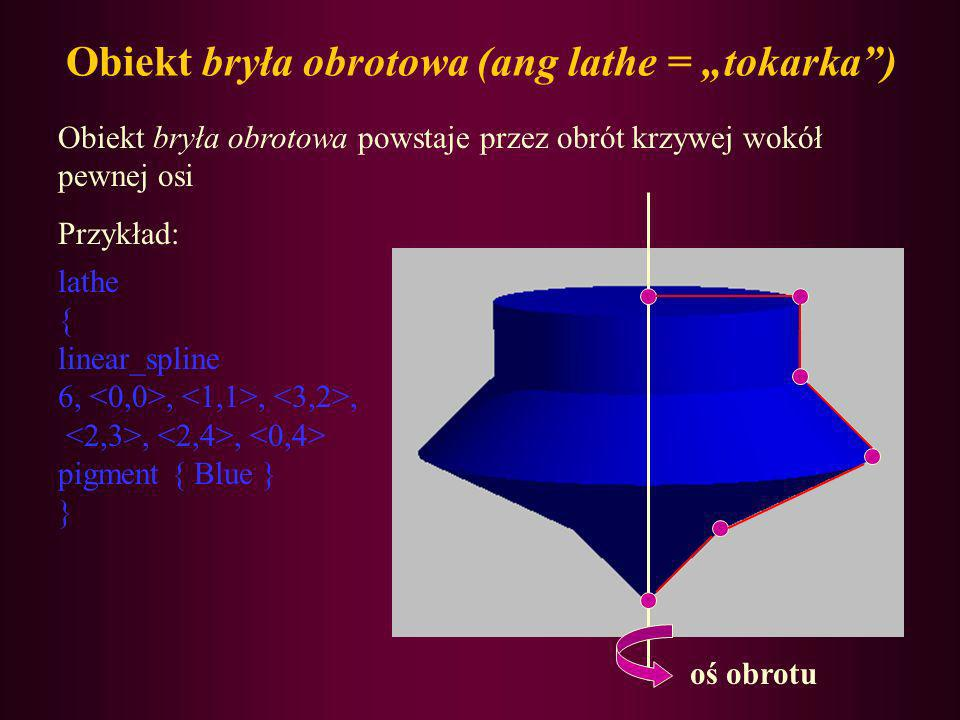 Obiekt bryła obrotowa (ang lathe = tokarka) Obiekt bryła obrotowa powstaje przez obrót krzywej wokół pewnej osi Przykład: lathe { linear_spline 6,,,,,