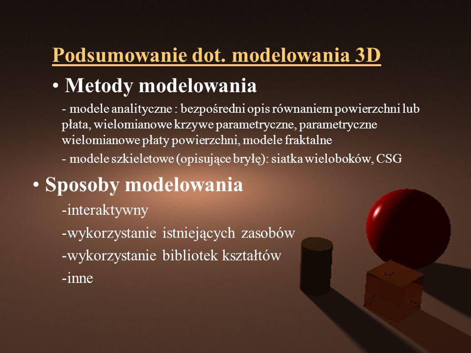 Podsumowanie dot. modelowania 3D Metody modelowania - modele analityczne : bezpośredni opis równaniem powierzchni lub płata, wielomianowe krzywe param