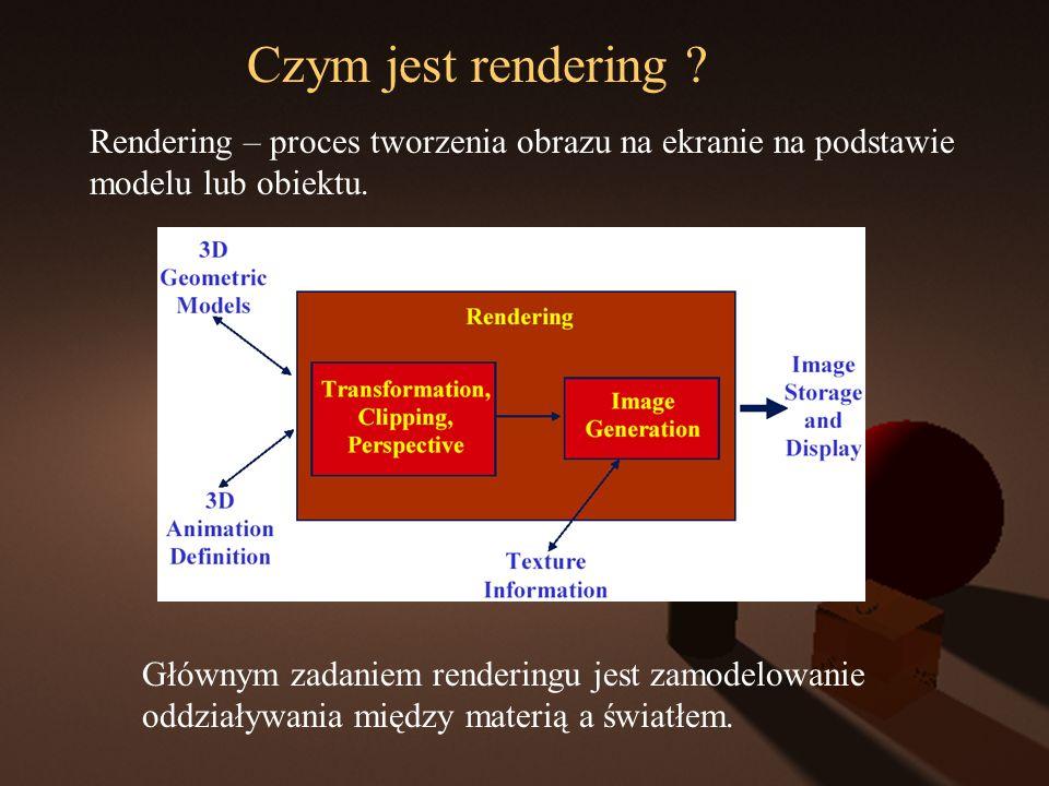 Czym jest rendering ? Rendering – proces tworzenia obrazu na ekranie na podstawie modelu lub obiektu. Głównym zadaniem renderingu jest zamodelowanie o