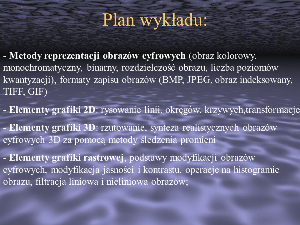 Plan wykładu: - Metody reprezentacji obrazów cyfrowych (obraz kolorowy, monochromatyczny, binarny, rozdzielczość obrazu, liczba poziomów kwantyzacji),