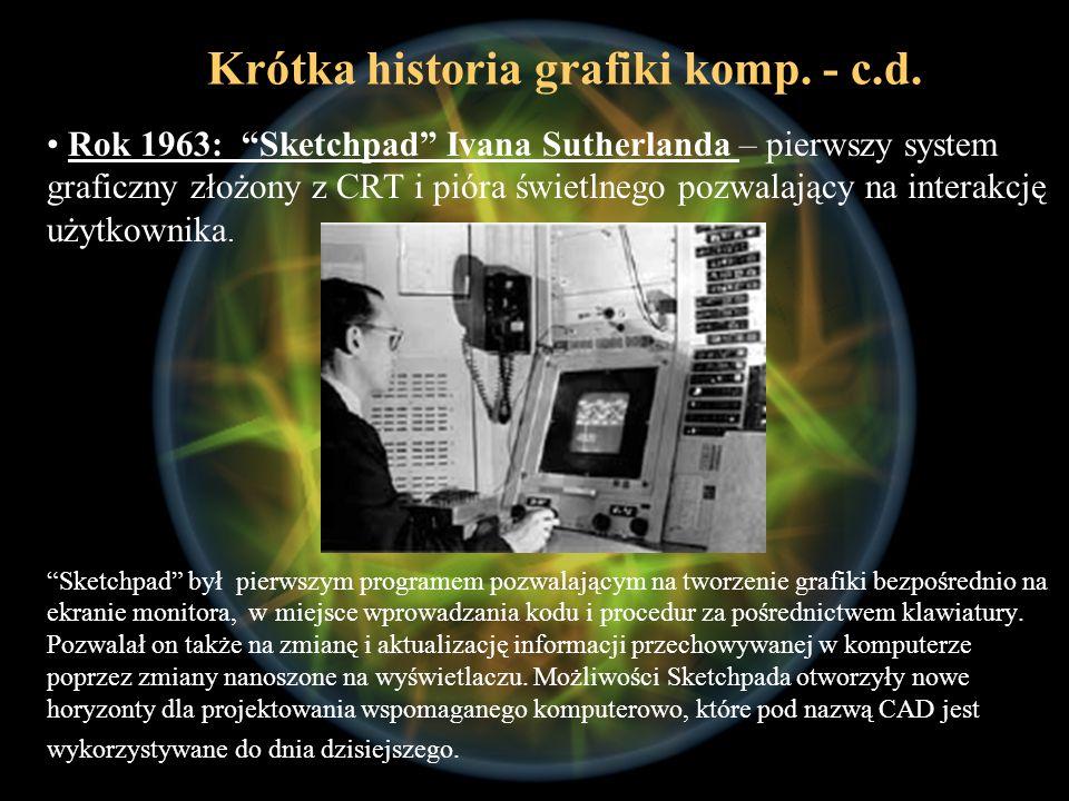 Rok 1963: Sketchpad Ivana Sutherlanda – pierwszy system graficzny złożony z CRT i pióra świetlnego pozwalający na interakcję użytkownika. Sketchpad by