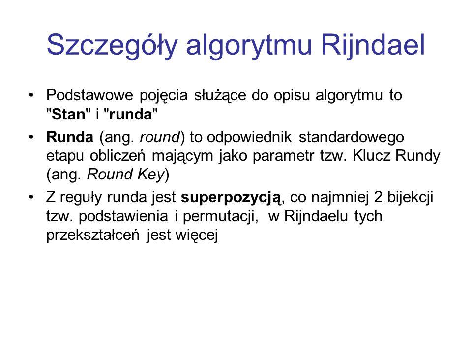 Szczegóły algorytmu Rijndael Podstawowe pojęcia służące do opisu algorytmu to
