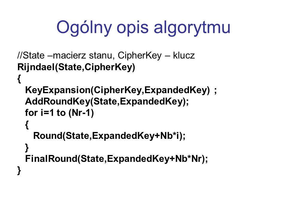 //State –macierz stanu, CipherKey – klucz Rijndael(State,CipherKey) { KeyExpansion(CipherKey,ExpandedKey) ; AddRoundKey(State,ExpandedKey); for i=1 to