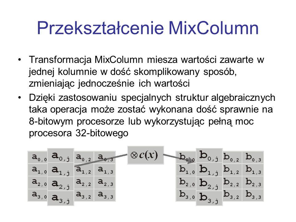 Przekształcenie MixColumn Transformacja MixColumn miesza wartości zawarte w jednej kolumnie w dość skomplikowany sposób, zmieniając jednocześnie ich w
