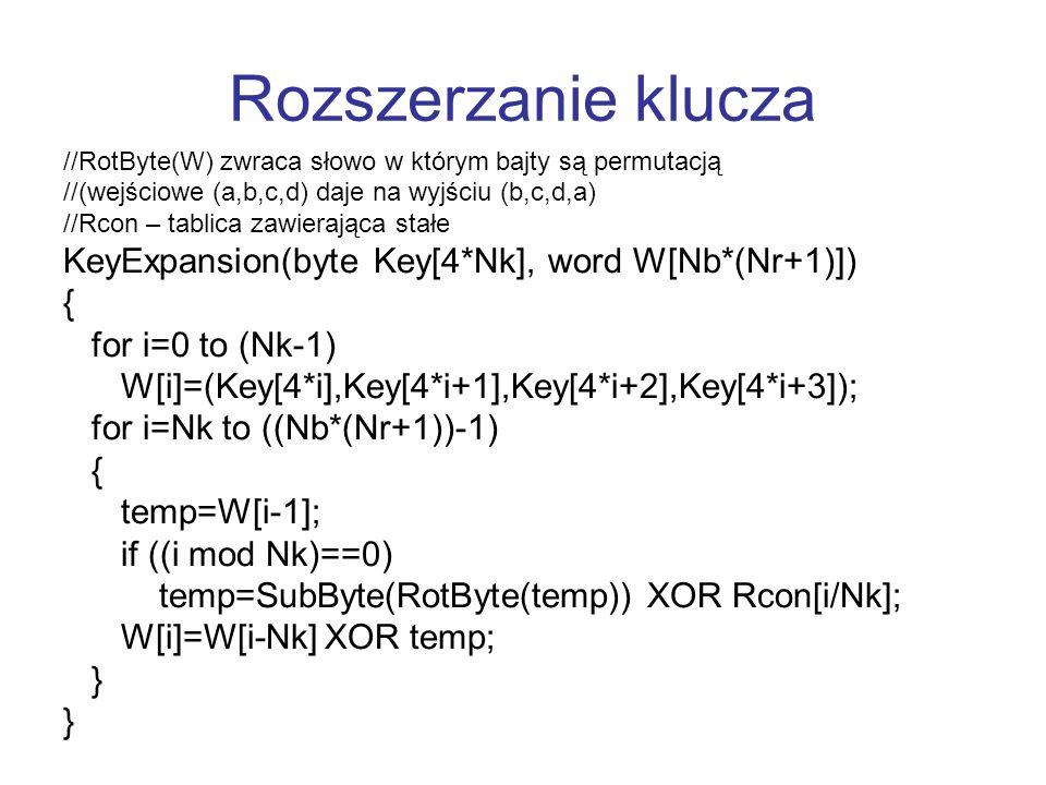 Rozszerzanie klucza //RotByte(W) zwraca słowo w którym bajty są permutacją //(wejściowe (a,b,c,d) daje na wyjściu (b,c,d,a) //Rcon – tablica zawierają