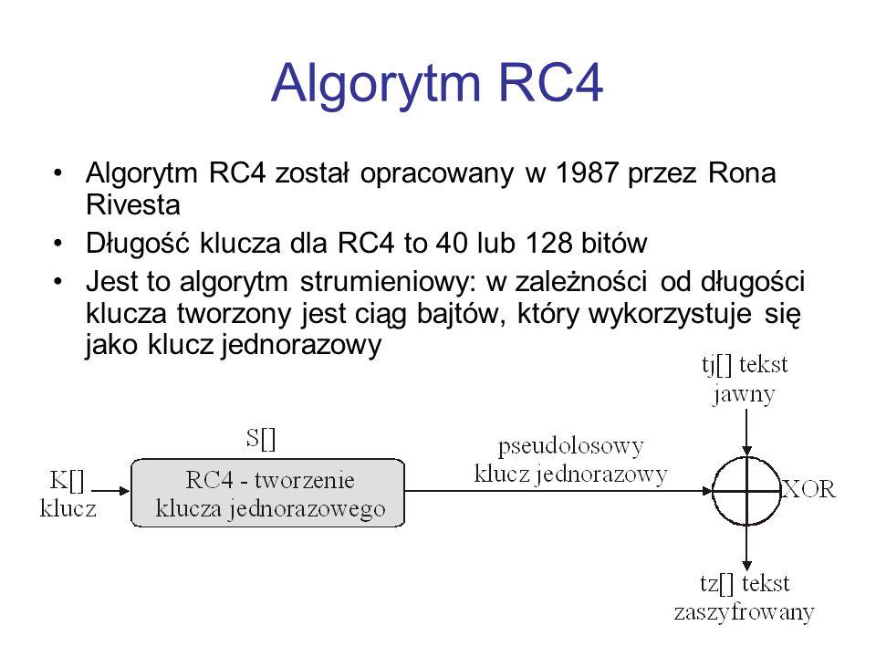 Algorytm RC4 Algorytm RC4 został opracowany w 1987 przez Rona Rivesta Długość klucza dla RC4 to 40 lub 128 bitów Jest to algorytm strumieniowy: w zale