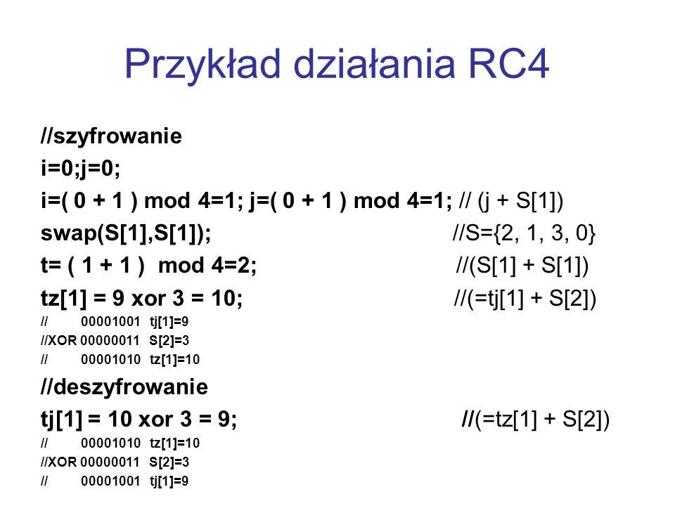 Przykład działania RC4 //szyfrowanie i=0;j=0; i=( 0 + 1 ) mod 4=1; j=( 0 + 1 ) mod 4=1; // (j + S[1]) swap(S[1],S[1]); //S={2, 1, 3, 0} t= ( 1 + 1 ) m