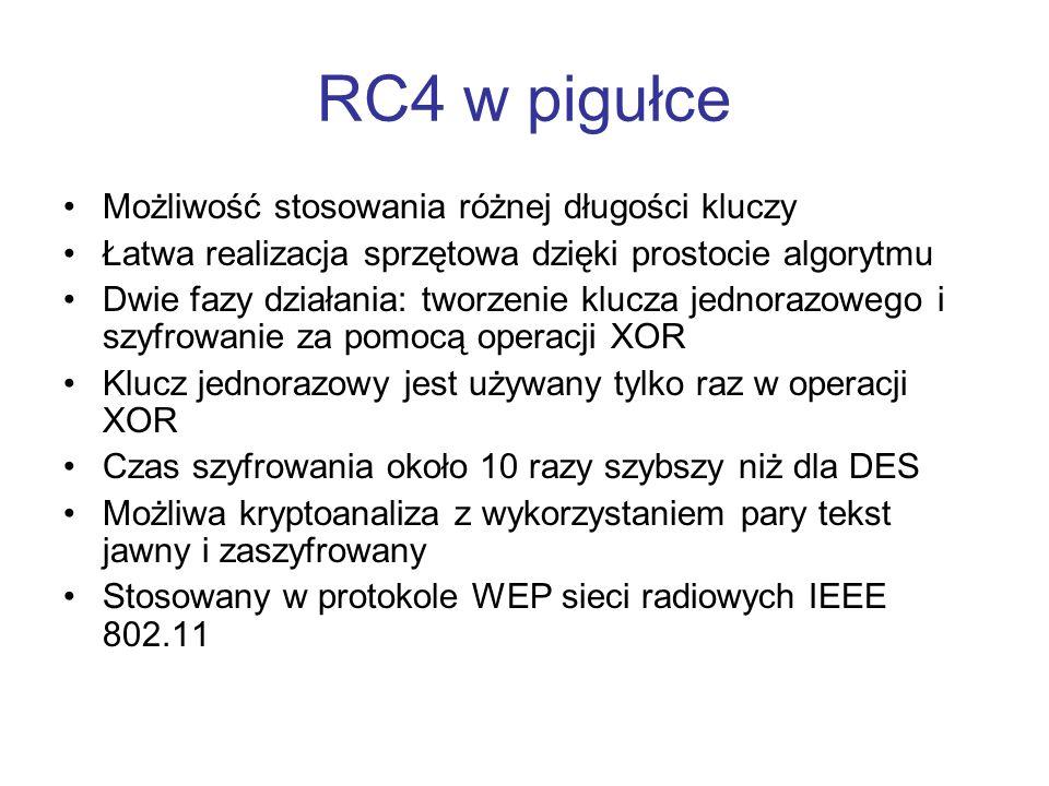 RC4 w pigułce Możliwość stosowania różnej długości kluczy Łatwa realizacja sprzętowa dzięki prostocie algorytmu Dwie fazy działania: tworzenie klucza