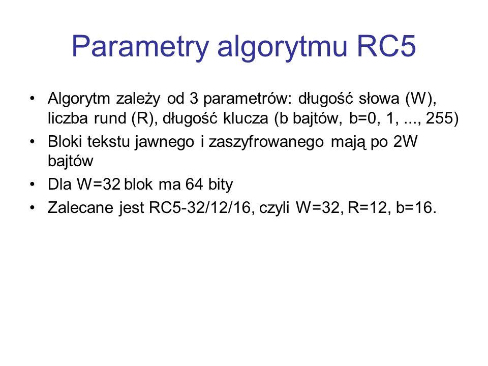 Parametry algorytmu RC5 Algorytm zależy od 3 parametrów: długość słowa (W), liczba rund (R), długość klucza (b bajtów, b=0, 1,..., 255) Bloki tekstu j