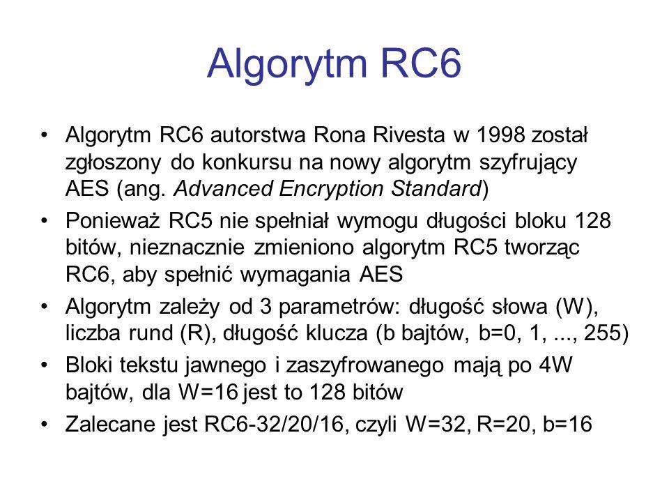 Algorytm RC6 Algorytm RC6 autorstwa Rona Rivesta w 1998 został zgłoszony do konkursu na nowy algorytm szyfrujący AES (ang. Advanced Encryption Standar