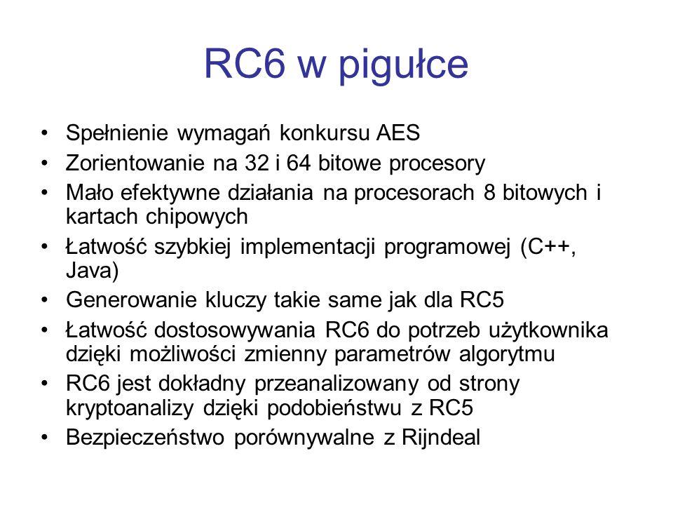 RC6 w pigułce Spełnienie wymagań konkursu AES Zorientowanie na 32 i 64 bitowe procesory Mało efektywne działania na procesorach 8 bitowych i kartach c