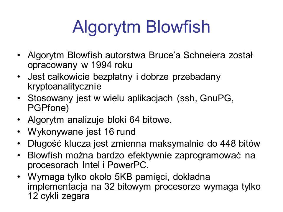 Algorytm Blowfish Algorytm Blowfish autorstwa Brucea Schneiera został opracowany w 1994 roku Jest całkowicie bezpłatny i dobrze przebadany kryptoanali