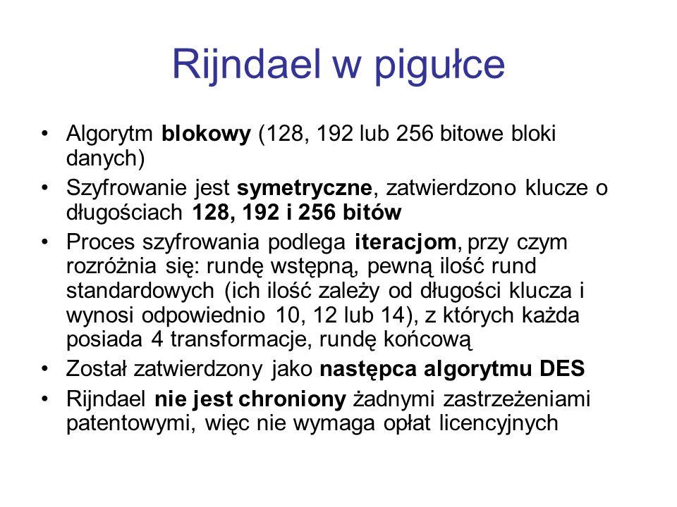 Rijndael w pigułce Algorytm blokowy (128, 192 lub 256 bitowe bloki danych) Szyfrowanie jest symetryczne, zatwierdzono klucze o długościach 128, 192 i