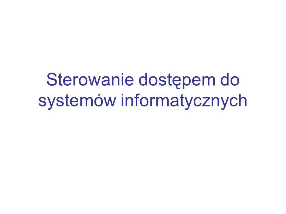 Ochrona haseł Większość systemów wymaga podczas identyfikacji podania identyfikatora użytkownika oraz hasła Hasła są kodowane algorytmami szyfrującymi umożliwiającymi łatwe zakodowanie i jednocześnie będące bardzo trudne do deszyfracji (np.