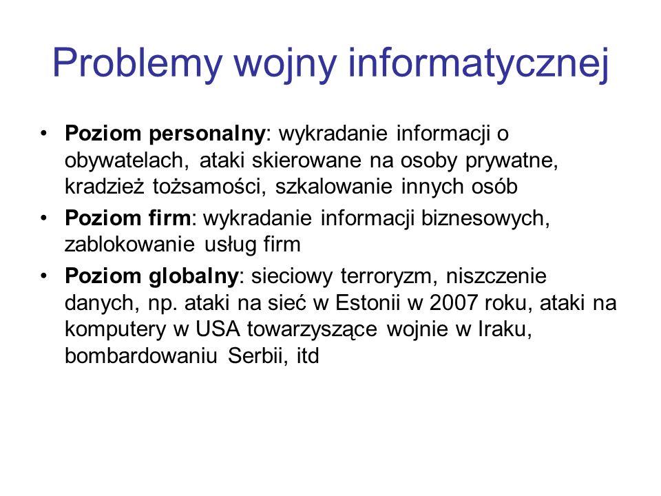 Problemy wojny informatycznej Poziom personalny: wykradanie informacji o obywatelach, ataki skierowane na osoby prywatne, kradzież tożsamości, szkalow