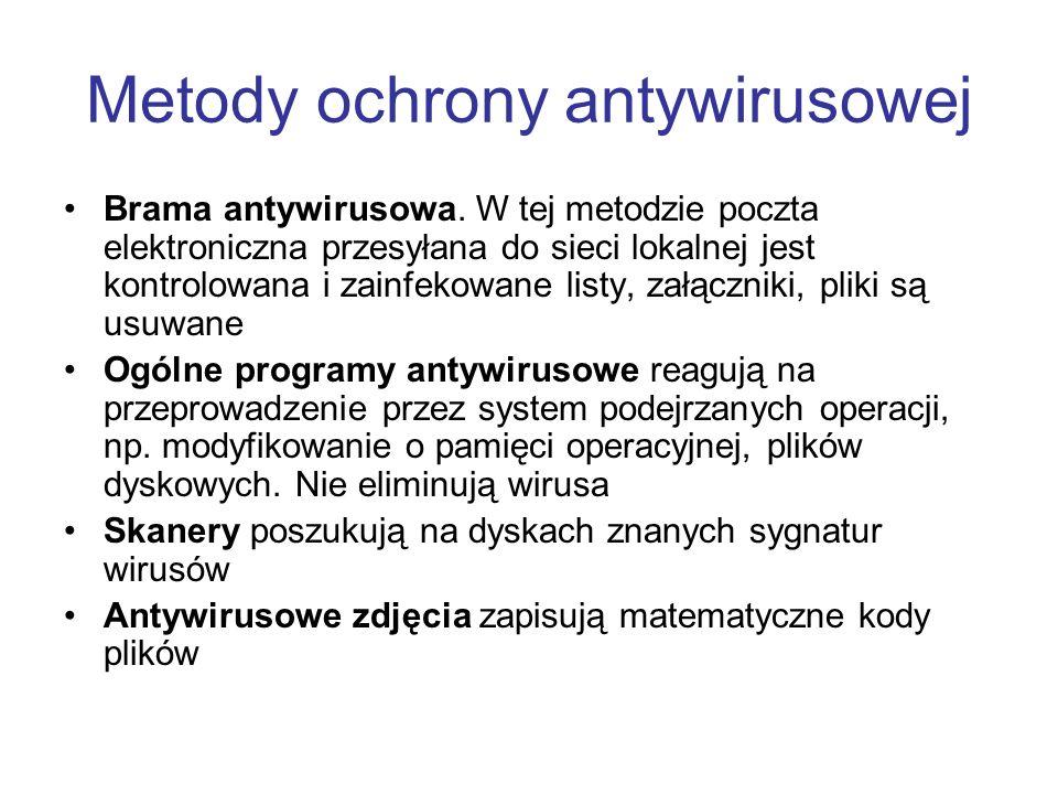 Metody ochrony antywirusowej Brama antywirusowa. W tej metodzie poczta elektroniczna przesyłana do sieci lokalnej jest kontrolowana i zainfekowane lis
