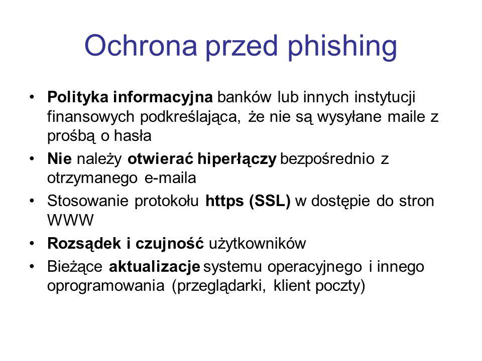 Ochrona przed phishing Polityka informacyjna banków lub innych instytucji finansowych podkreślająca, że nie są wysyłane maile z prośbą o hasła Nie nal