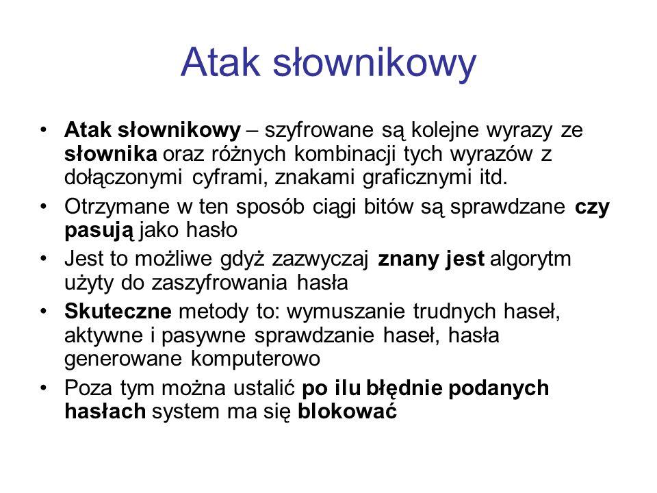 Atak słownikowy Atak słownikowy – szyfrowane są kolejne wyrazy ze słownika oraz różnych kombinacji tych wyrazów z dołączonymi cyframi, znakami graficz
